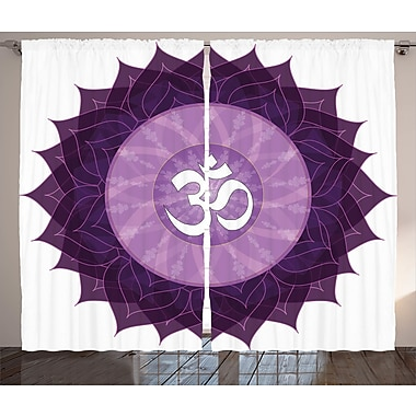 Bungalow Rose Sylvan Chakra Graphic Print and Text Semi-Sheer Rod pocket Curtain Panels (Set of 2)