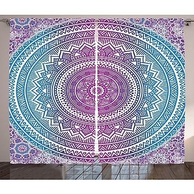 Bungalow Rose Bertaux Graphic Print and Text Semi-Sheer Rod pocket Curtain Panels (Set of 2)
