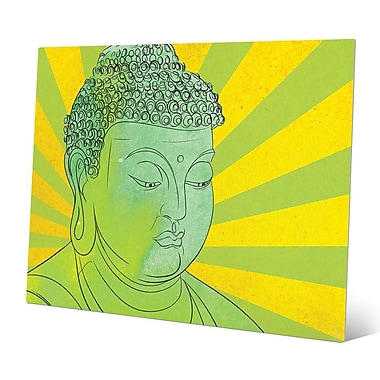 Bungalow Rose 'Buddha Peridot Wash Pop Art' Graphic Art Print on Metal; 8'' H x 10'' W x 0.04'' D