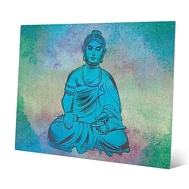 Bungalow Rose 'Calm Turquoise Buddha' Graphic Art Print on Metal; 20'' H x 30'' W x 0.04'' D