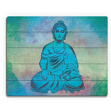Bungalow Rose 'Calm Turquoise Buddha' Graphic Art Print on Wood; 20'' H x 30'' W x 1'' D