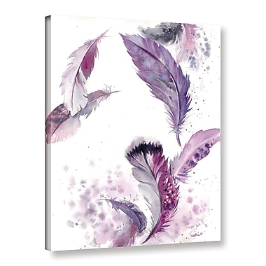 Bungalow Rose 'Purple Feathers IV' Print on Canvas; 18'' H x 14'' W x 2'' D