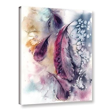 Bungalow Rose 'Purple Feathers V' Print on Canvas; 48'' H x 36'' W x 2'' D