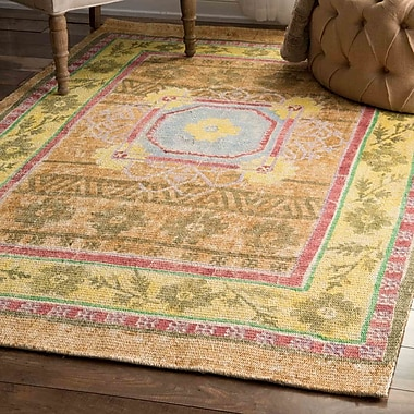 Bungalow Rose Carressa Yellow Area Rug; 4' x 6'