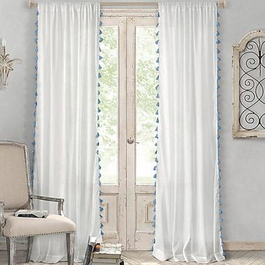 Bungalow Rose Charlayne Solid Sheer Rod Pocket Single Curtain Panel; Blue