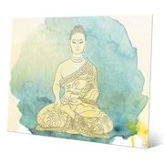 Bungalow Rose 'Canary Aqua Paint Buddha' Graphic Art Print on Metal; 20'' H x 24'' W x 0.04'' D
