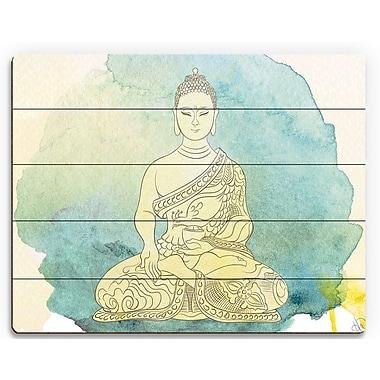 Bungalow Rose 'Canary Aqua Paint Buddha' Graphic Art Print on Wood; 9'' H x 12'' W x 1'' D