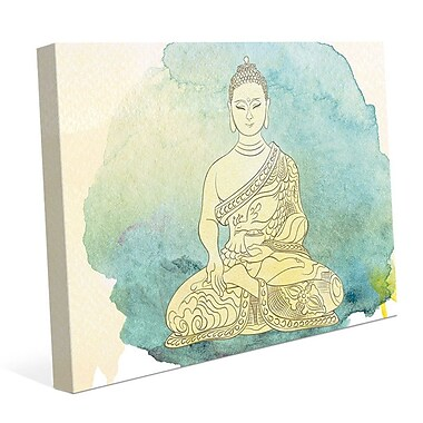 Bungalow Rose 'Canary Aqua Paint Buddha' Graphic Art Print on Canvas; 20'' H x 30'' W x 1.5'' D