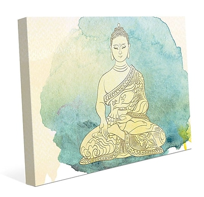Bungalow Rose 'Canary Aqua Paint Buddha' Graphic Art Print on Canvas; 8'' H x 10'' W x 0.75'' D