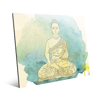 Bungalow Rose 'Canary Aqua Paint Buddha' Graphic Art Print on Glass; 16'' H x 20'' W x 1'' D