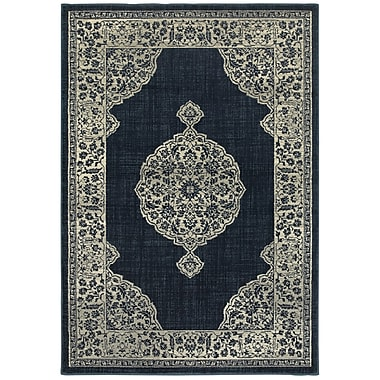 Bungalow Rose Dover Majestic Medallion Navy Area Rug; 5'3'' x 7'6''