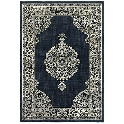 Bungalow Rose Dover Majestic Medallion Navy Area Rug; Runner 2'3'' x 7'6''