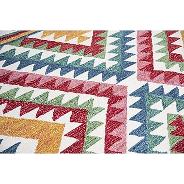 Bungalow Rose Duron Hand-Tufted Wool Red/Blue Area Rug; 9' x 12'