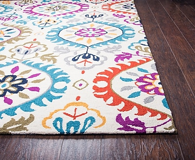 Bungalow Rose Duron Hand-Tufted Wool Ivory/Pink Area Rug; 8' x 10'