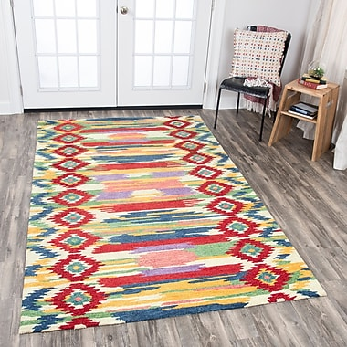 Bungalow Rose Duron Hand-Tufted Red/Natural Area Rug; 5' x 8'