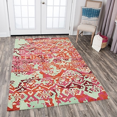 Bungalow Rose Duron Hand-Tufted Pink/Red Area Rug; 5' x 8'