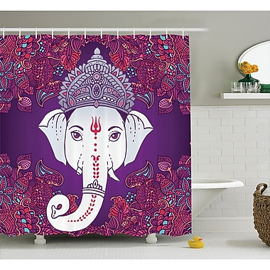 Bungalow Rose Delmer Elephant Goddess Floral Shower Curtain; 69'' W x 75'' L