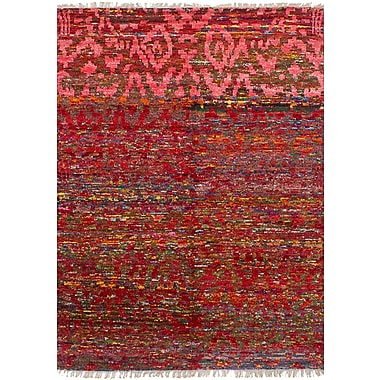 Bungalow Rose Dennet Hand-Knotted Silk Red Area Rug