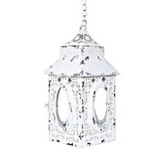 Bungalow Rose Derrell Punched Metal Lace Cordless 1 Light LED Outdoor Hanging Lantern; White