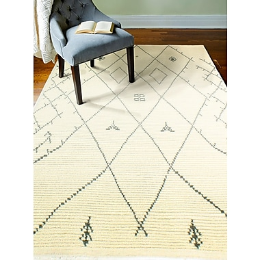 Bungalow Rose Floressa Hand-Knotted Ivory Area Rug; 5' x 7'6''