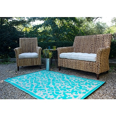 Bungalow Rose Fontayne Cream & Turquoise Indoor/Outdoor Area Rug; 6' x 9'