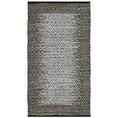 Bungalow Rose Logan Leather Hand-Woven Light Gray Area Rug; Round 6'