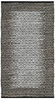 Bungalow Rose Logan Leather Hand-Woven Light Gray Area Rug; 3' x 5'