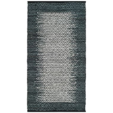 Bungalow Rose Logan Geometric Hand-Woven Light Gray Area Rug; Square 6'