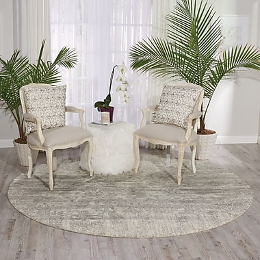 Bungalow Rose Arabelle Abstract Ivory Area Rug; Round 8' x 8'