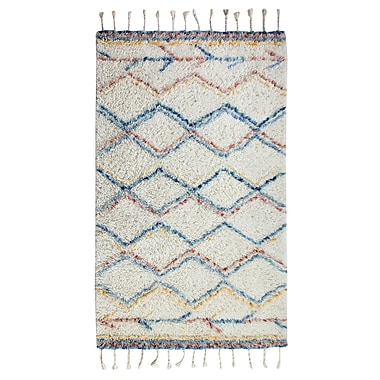 Bungalow Rose Mayer Rectangle Hand-Woven Beige/Blue/Red Area Rug; 8' x 10'