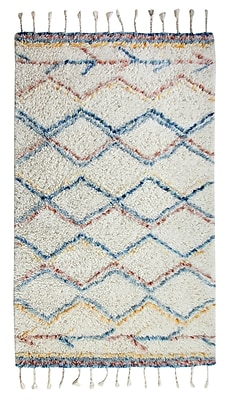 Bungalow Rose Mayer Rectangle Hand-Woven Beige/Blue/Red Area Rug; 3' x 5'