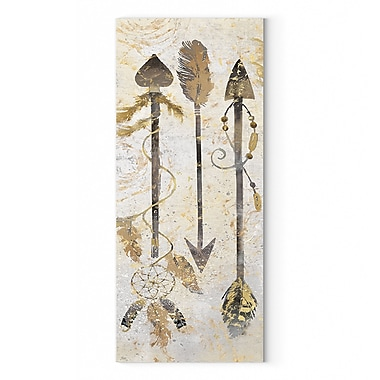 Bungalow Rose 'Tribal Arrows' Oil Painting Print on Wrapped Canvas; 24'' H x 8'' W
