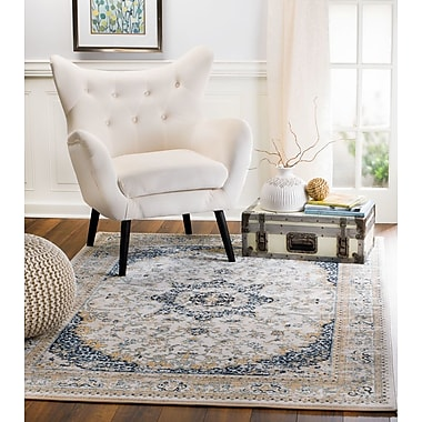 Bungalow Rose Amy Linen Beige/Blue Area Rug; 7'4'' x 10'6''