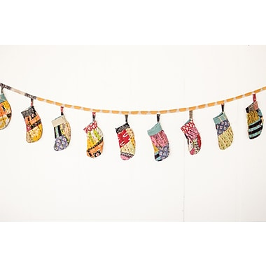 Bungalow Rose Vintage Kantha Christmas Stocking Garland