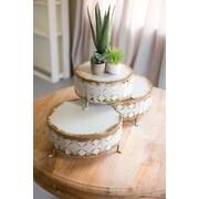 Bungalow Rose Antonetta Perferated Metal Riser Cake Stand 3 Piece Set