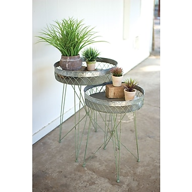 Bungalow Rose Appleton Galvanize Wire 2 Piece Nesting Tables