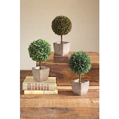 Bungalow Rose Ball Top Artificial Topiary Tapered 3 Piece Sculpture