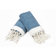 Bungalow Rose 100pct Cotton Diamond Weave Tassled Hand Towel (Set of 2); Navy