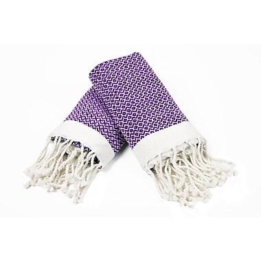 Bungalow Rose 100pct Cotton Diamond Weave Tassled Hand Towel (Set of 2); Purple