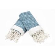 Bungalow Rose 100pct Cotton Diamond Weave Tassled Hand Towel (Set of 2); Light Blue