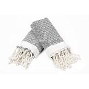 Bungalow Rose 100pct Cotton Diamond Weave Tassled Hand Towel (Set of 2); Gray