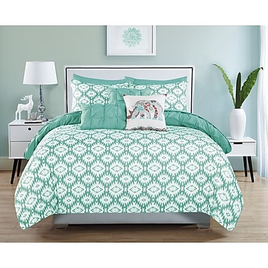 Bungalow Rose Huber 10 Piece Reversible Aqua Comforter Set; King