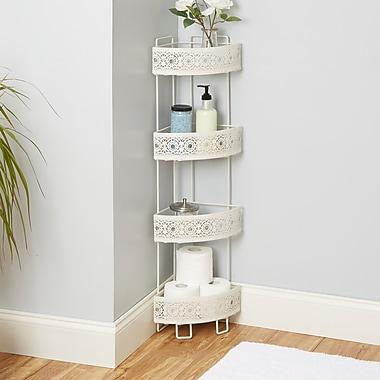 Bungalow Rose Griffin Corner Caddy 8.5'' W x 37.4'' H Bathroom Shelf; White