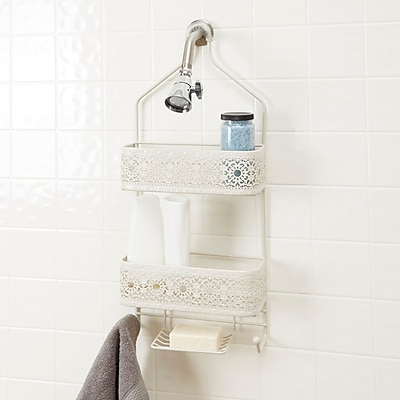 Bungalow Rose Griffin 2-Shelf Shower Caddy w/ Soap Holder; White