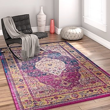 Bungalow Rose Binstead Traditional Medallion Distressed Purple/Yellow Area Rug; 7'10'' x 9'10''