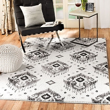 Bungalow Rose Bocarty Ikat White/Gray Area Rug; 5' x 7'