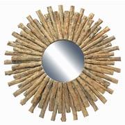 Bungalow Rose Drift Wood Sun Accent Mirror; Natural