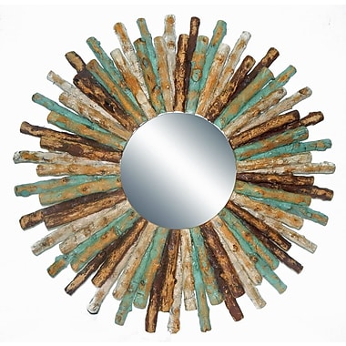 Bungalow Rose Drift Wood Sun Accent Mirror; Brown/White Wash/Turquoise
