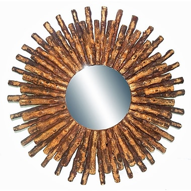 Bungalow Rose Drift Wood Sun Accent Mirror; Brown
