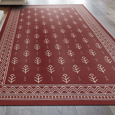 Bungalow Rose Azaria Royal Club 100pct Cotton Hand-Woven Burgundy Area Rug; 8' x 10'